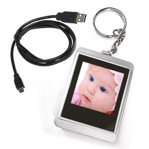 """CIONDOLO PORTAFOTO DIGITALE ELETTRONICO USB PORTACHIAVI DISPLAY 1,5"""" 128X128 PX"""