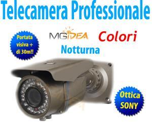 Telecamera Professionale Da esterno interno notturna ottica SONY 1/3 focus zoom