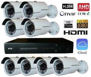 KIT VIDEOSORVEGLIANZA DVR AHD IBRIDO H264 8 CANALI CH 720P HDMI 2 CANALI 1080P TELECAMERA NEXT 5 AHD BULLET HD 3,6MM