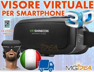 VISORE 3D OCCHIALI REALTA' VIRTUALE PER SMARTPHONE 3.5/6 POLLICI VR SHINECON IOS ANDROID