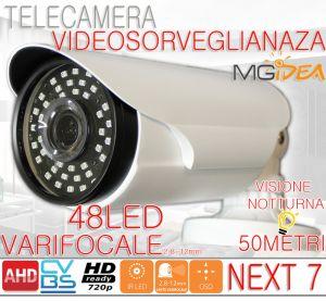 TELECAMERA VIDEOSORVEGLIANZA NEXT 7 AHD VARIFOCALE 720p HD READY o 960H OSD