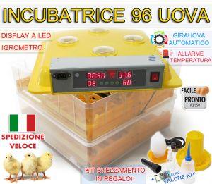 INCUBATRICE 96 UOVA PROFESSIONALE AUTOMATICA GIRAUOVA IGROMETRO + KIT SVEZZAMENTO IN REGALO!!