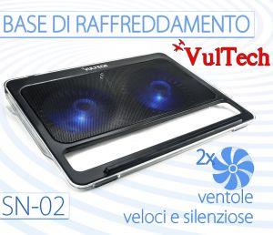 BASE RAFFREDDAMENTO PC PORTATILE VULTEC SN-02 2 VENTOLE VELOCI SILENZIOSE + LED