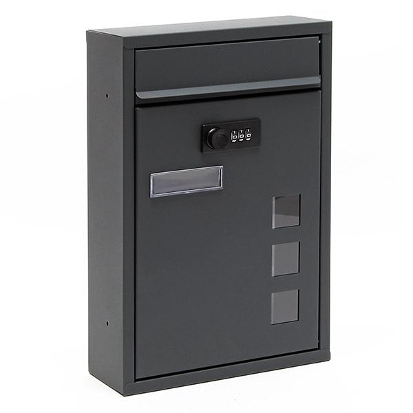Cassetta posta postale lettere chiusura combinazione antracite impermeabile da parete - Cassetta postale design ...