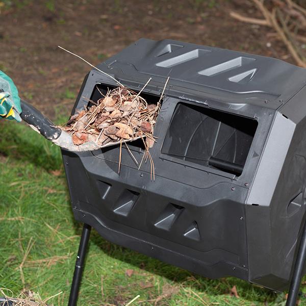 Compostiera rotante da giardino composto doppio cestello for Compostiera da giardino