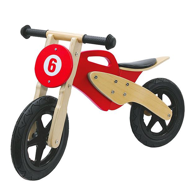 Moto Bambini Legno Betulla Rossa Corsa Bici Senza Pedali Pneumatici Girante