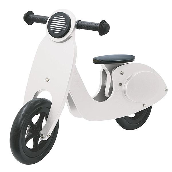 Scooter Girante Bici In Legno Vespetta Bianca Bambini Toys Sport Senza Pedali