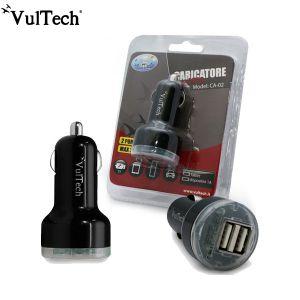 CARICA TELEFONO DOPPIA USB TABLET AUTO MACCHINA 2.1A 12-24V DC ACCENDISIGARI VULTECH CA-02