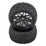 COPPIA RUOTE BUGGY 1/10 OFF-ROAD TASSELLATE FUORI STRADA MONSTER TRONIC 85X40MM NERE